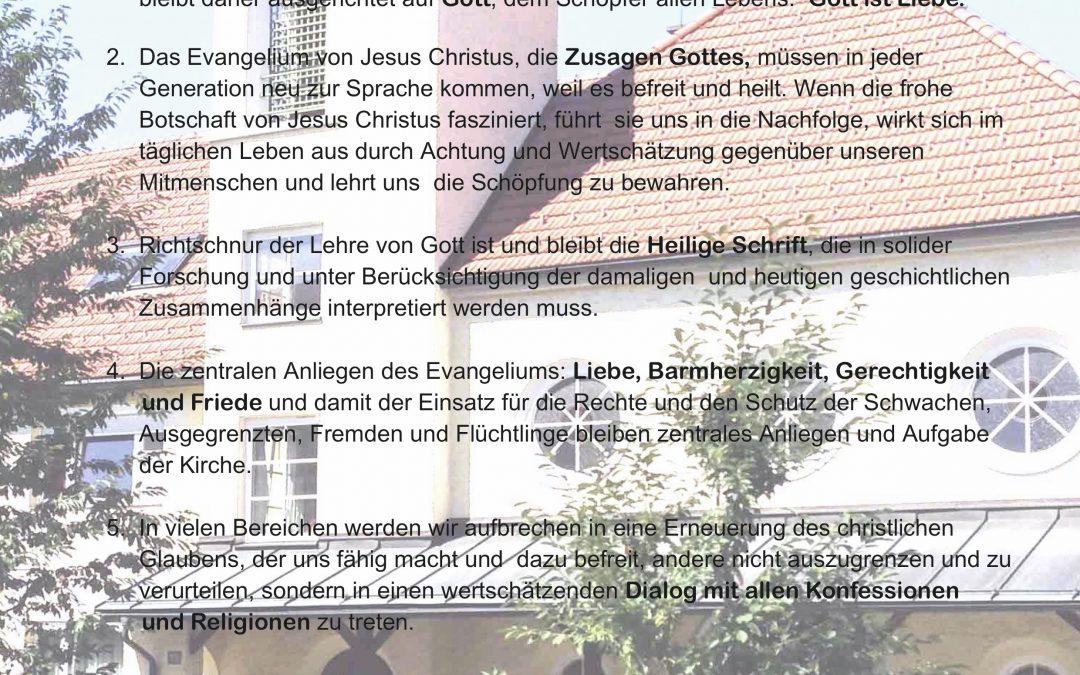7 Thesen für ein evangelisches Leben in Freiheit und Verantwortung, im Glauben und in der Liebe.
